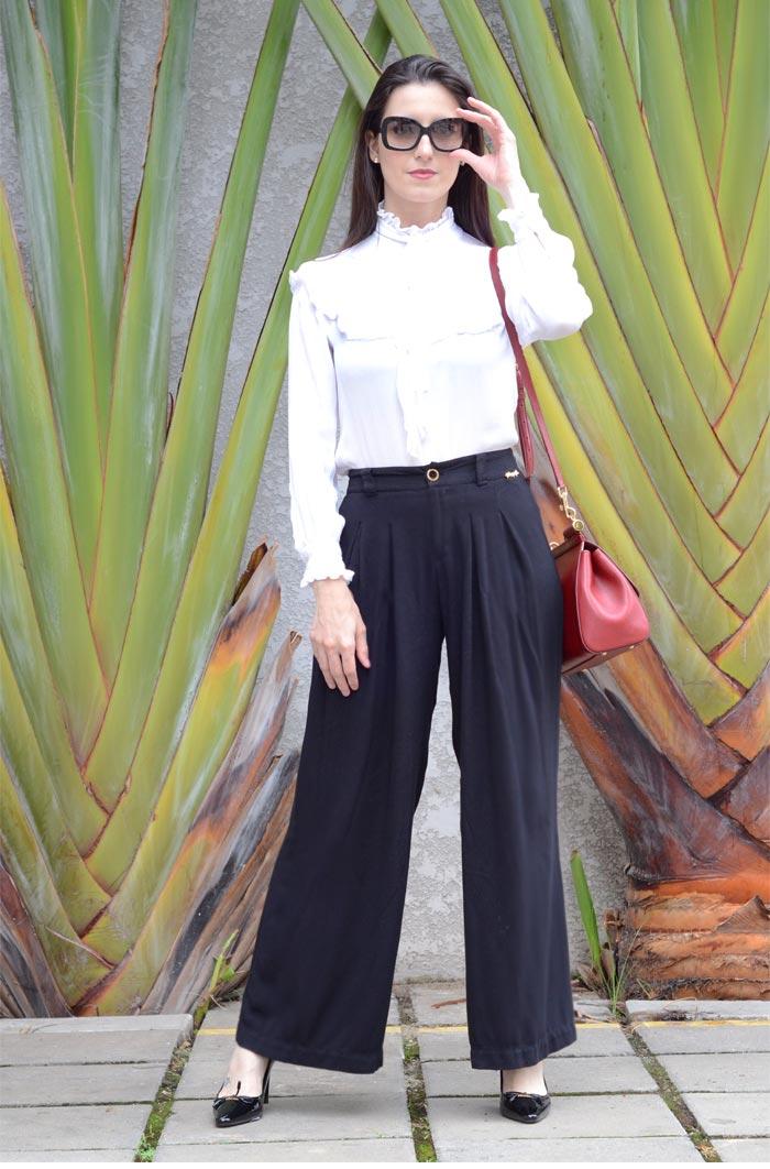 pantalona e camisa de laço