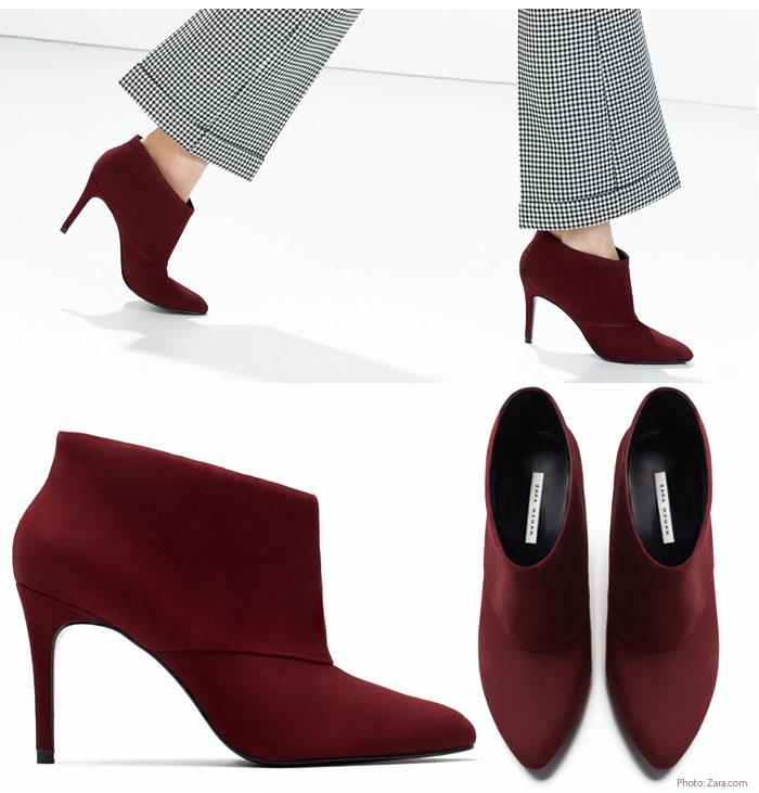Ankle boot burgundy zara