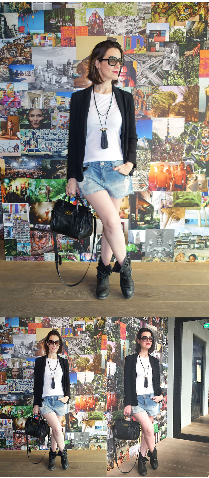 shorts jeans com botas