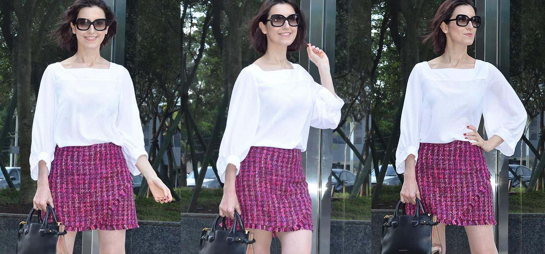 Look do Dia   Saia de Tweed,  blusa de manga bufante e sapatilha