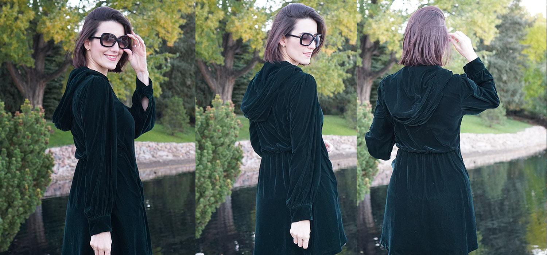 Look do Dia | Vestido verde esmeralda de veludo com capuz