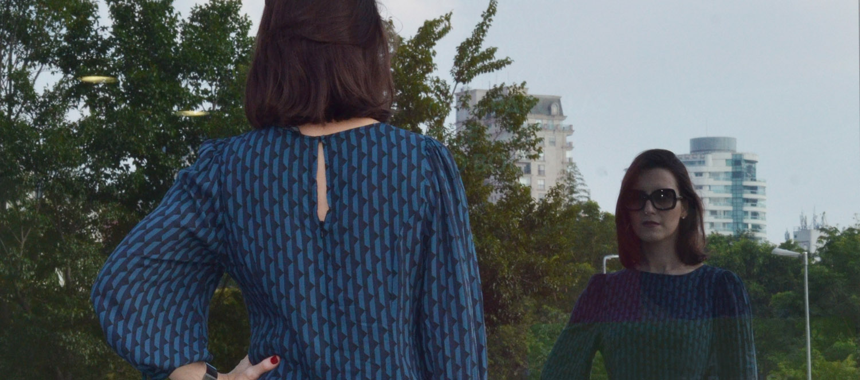 #ModaNoMake | Vestido geométrico e sapato de bico