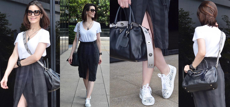 Look do Dia | Saia lápis, camiseta branca, tênis e bolsa com detalhes