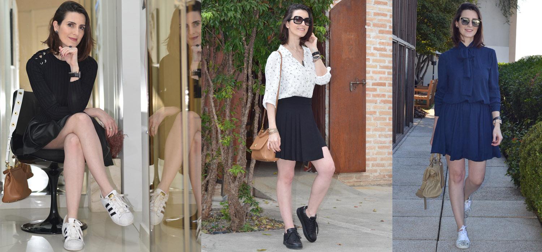 3 looks bem femininos com tênis branco, preto e colorido