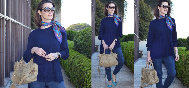 Look do Dia | Tudo azul com camisão, jeans e sapatilha