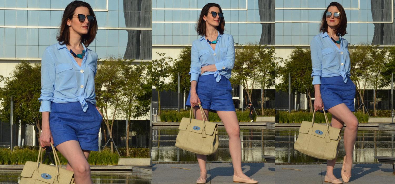 Um look todo azul | Camisa, shorts de linho e sapatilha