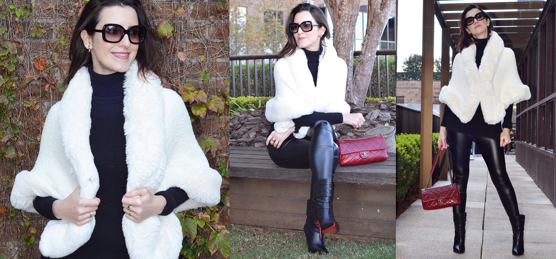 Look de inverno | Capa peludinha, cashmere e calça com efeito couro