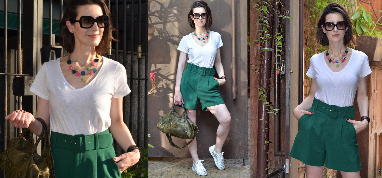 Look do Dia | Shorts de alfaiataria e camiseta. Um look básico e arrumadinho